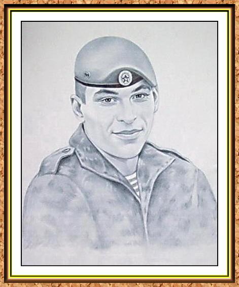 """портрет черно-белый с фотографии в технике""""сухая кисть""""(берет, спецназ, десант. форма)"""