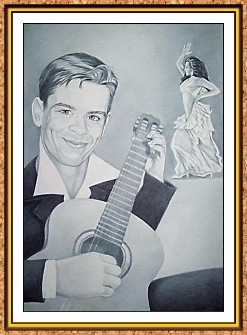 """портрет цветной сюжетный по фотографии в технике""""сухая кисть""""(гитарист,гитара.танцы,фламенко,струны,танцовщица)"""