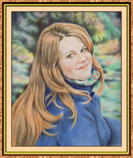 """портрет цветной по фото в технике """"сухая кисть""""(девушка на природе)"""