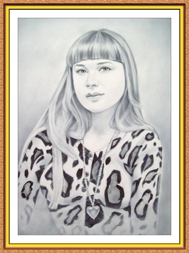 """портрет с фотографии в технике""""сухая кисть""""(двушка,медальон,кулон,цепочка)"""