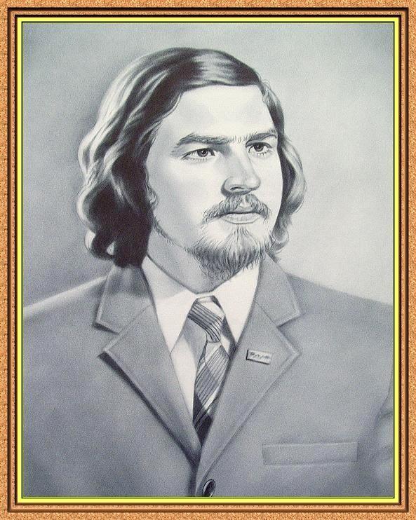 портрет черно-белый по фото в технике сухая кисть(костюмы.галстуки,пиджак)