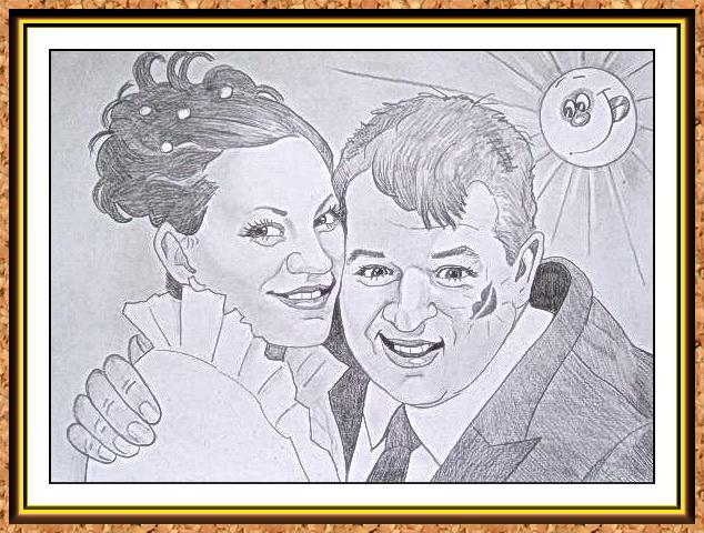 шарж сюжетный черно-белый(свадьба)