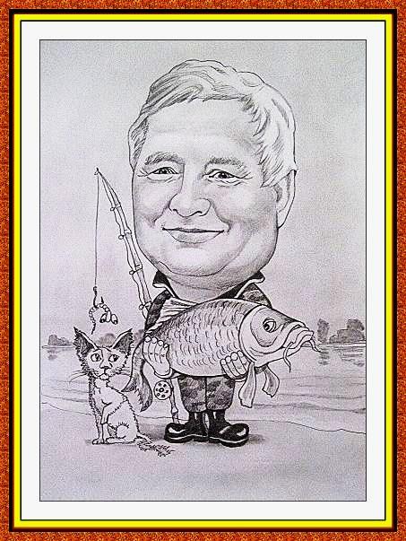 шарж сюжетный черно-белый(рыбалка,рыба,река,кошка,снасти)
