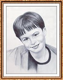 """портрет мальчика в технике""""сухая кисть"""" с фотографии в рамке"""