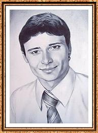портрет мужчины в галстуке с фотографии в технике сухая кисть