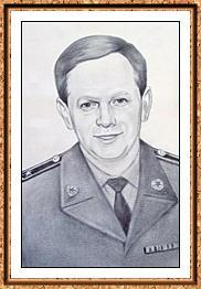 """портрет черно-белый по фото в технике""""сухая кисть""""(военный,подполковник,форма)"""