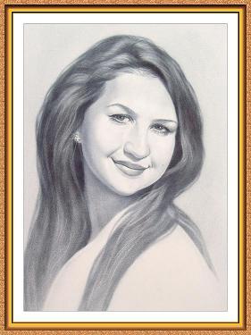 """портрет черно-белый в технике""""сухая кисть"""" по фотографии(девушки,улыбка)"""