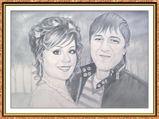 """портрет черно-белый по фотографии в технике""""сухая кисть""""(свадьба,жених и невеста)"""