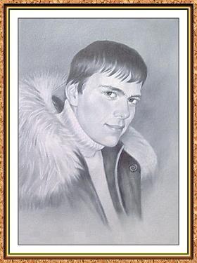 """портрет черно-белый по фотографии ч технике""""сухая кисть""""(свитера,куртки,меховой воротник,зипер)"""