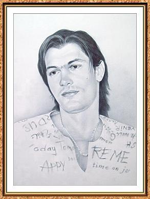 """портрет черно-белый по фотографии в технике""""сухая кисть""""(цепочки,модель)"""