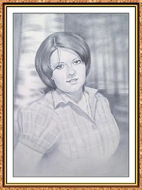 """портрет черно-белый с фотографии в технике""""сухая кисть""""(девушка,лес,березы,роща,лето)"""