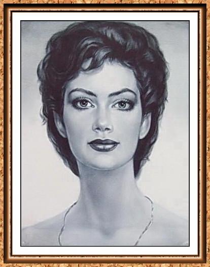 портрет по фотографии черно-белый в технике сухая кисть(цепочка)