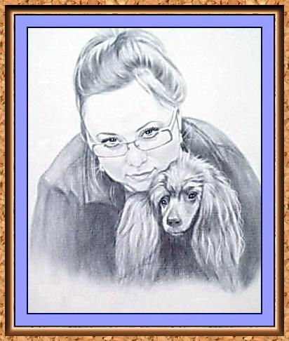 """портрет по фотографии черно-белый в технике""""сухая кисть""""(очки,домашние животные,пудель,собаки)"""