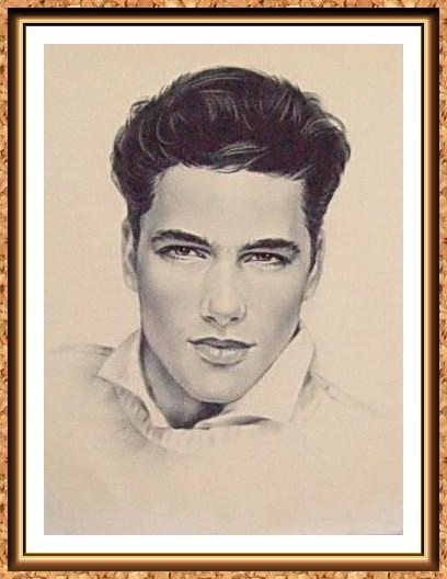 портрет черно-белый по фото(модели,парень.джемпер,прически)