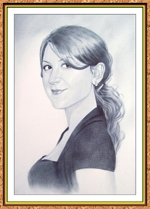 портрет черно-белый с фотографии в технике сухая кисть(девушка)