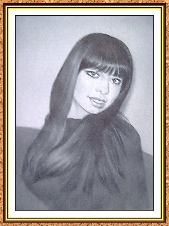 """портрет девушки с фотографии в технике""""сухая кисть""""(кофта,на диване)"""