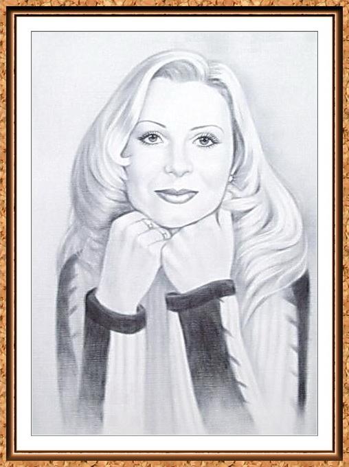 портрет девушки черно белый по фото(блондинка)