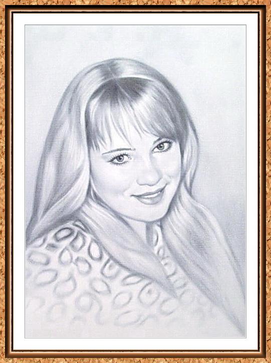 """портрет черно-белый по фото в рамке в технике""""сухая кисть""""(блондинки)"""