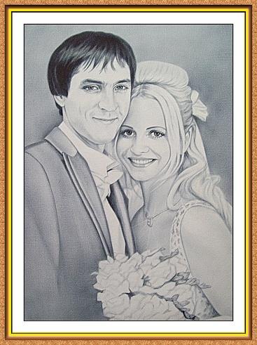 """портреты черно-белые по фотографии в технике""""сухая кисть""""(свадьба,жених и невеста)"""