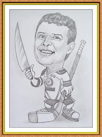 шарж сюжетный черно-белый(хоккей,клюшка,коньки,форма,нож)