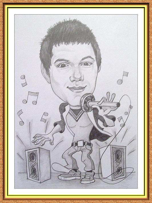 шарж сюжетный черно-белый(певец,поп музыка,микрофон,колонки,ноты)