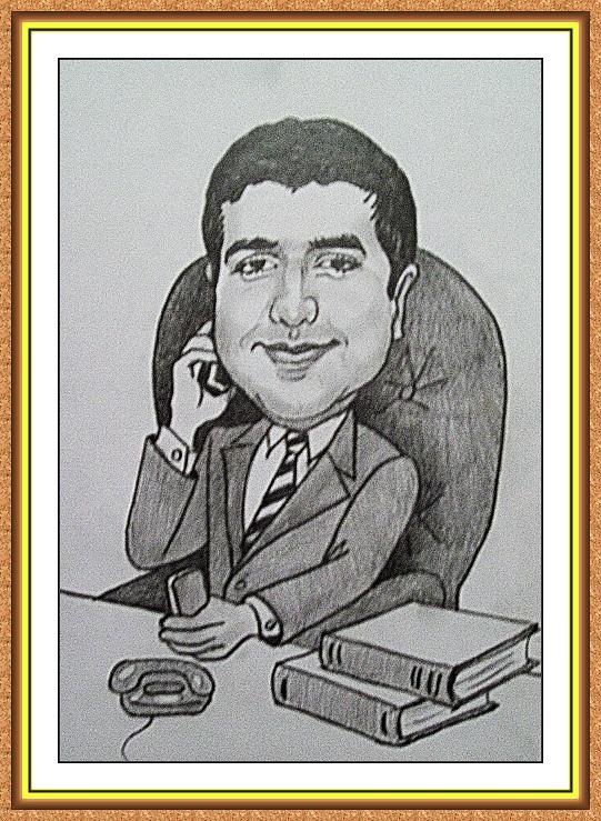 шарж сюжетный черно-белый(Начальник,телефон,смартфон,книги)