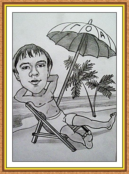 шарж сюжетный черно-белый(пляж,отдых.шезлонг.загар.зонт,Гоа,пальмы,плавки)