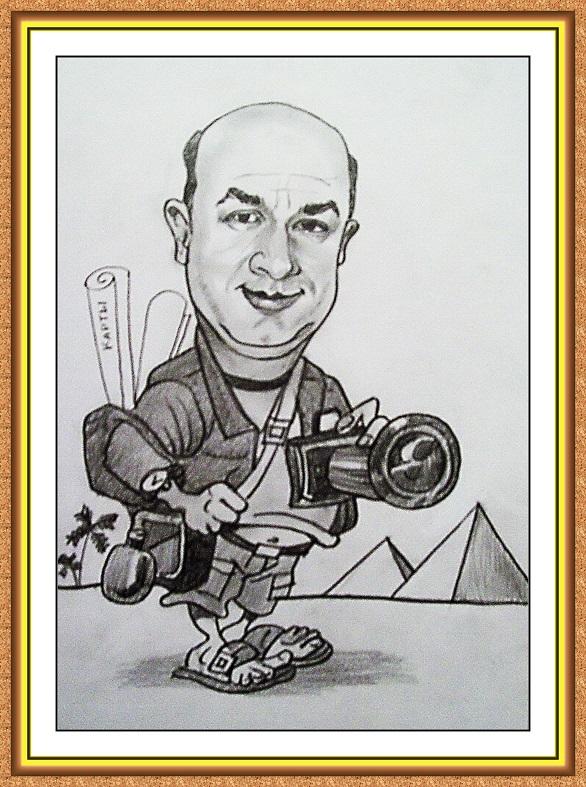 шарж сюжетный черно-белый(туризм,фото.пирамиды.рюкзак,достопримечательности)
