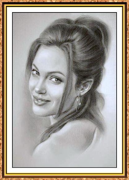 портрет черно-белый с фото(Анжелина Джоли)