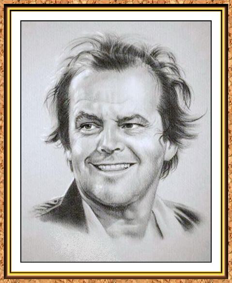 портрет черно-белый по фотографии(Джек Николсон,знаменитости)