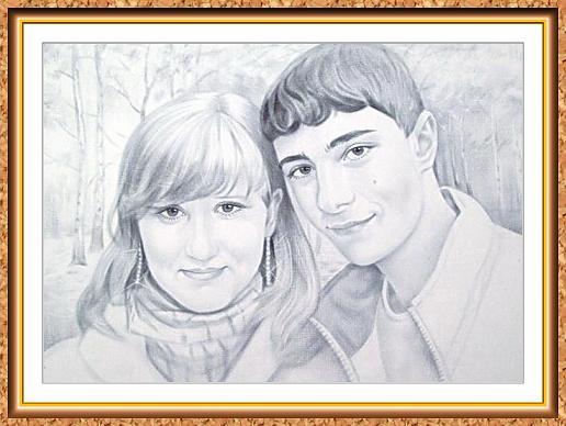 """портреты черно-белые с фотографии в технике""""сухая кисть""""(влюбленные,лес,деревья)"""