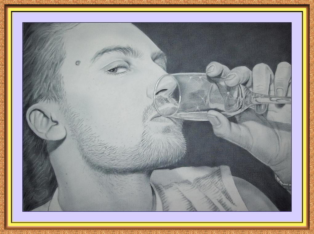 """портрет черно-белый по фотографии в технике""""сухая кисть""""(бокал. вино)"""